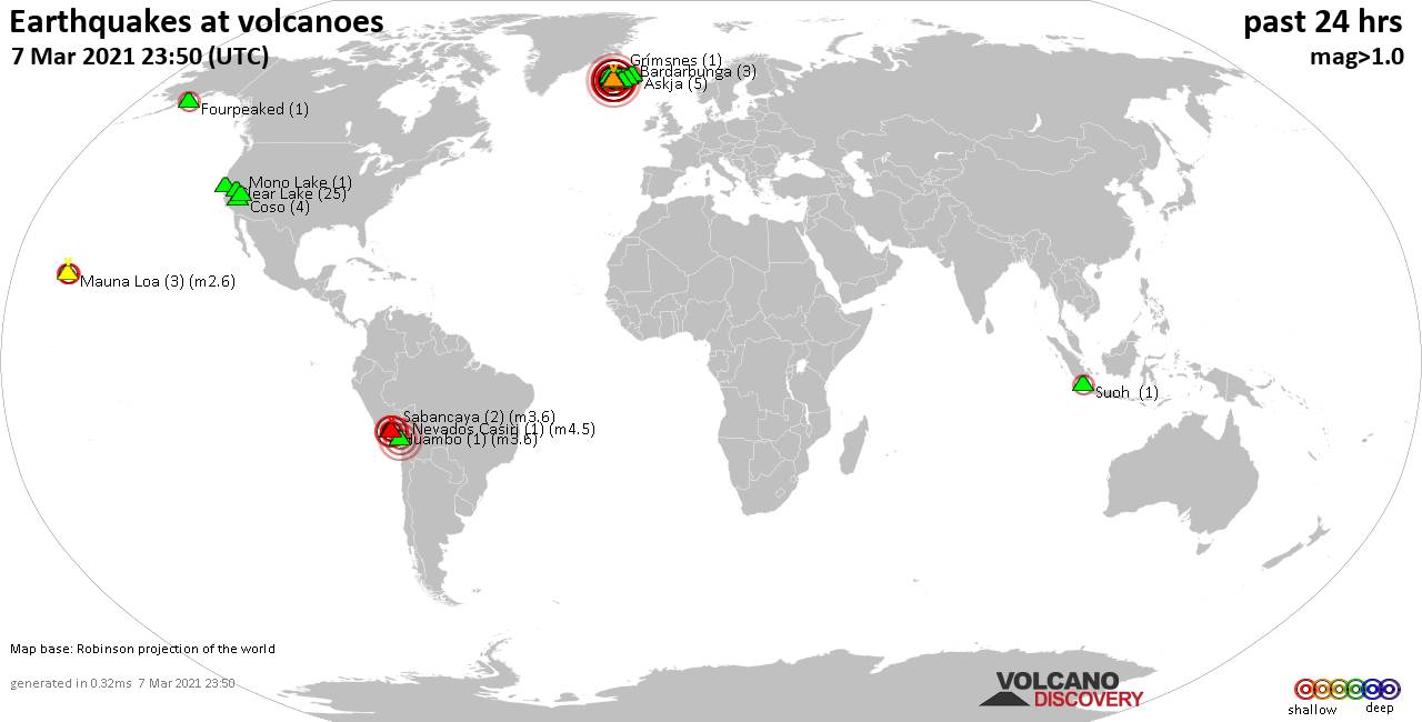 World map showing volcanoes with shallow (less than 20 km) earthquakes within 20 km radius  during the past 24 hours on  7 Mar 2021 Number in brackets indicate nr of quakes.