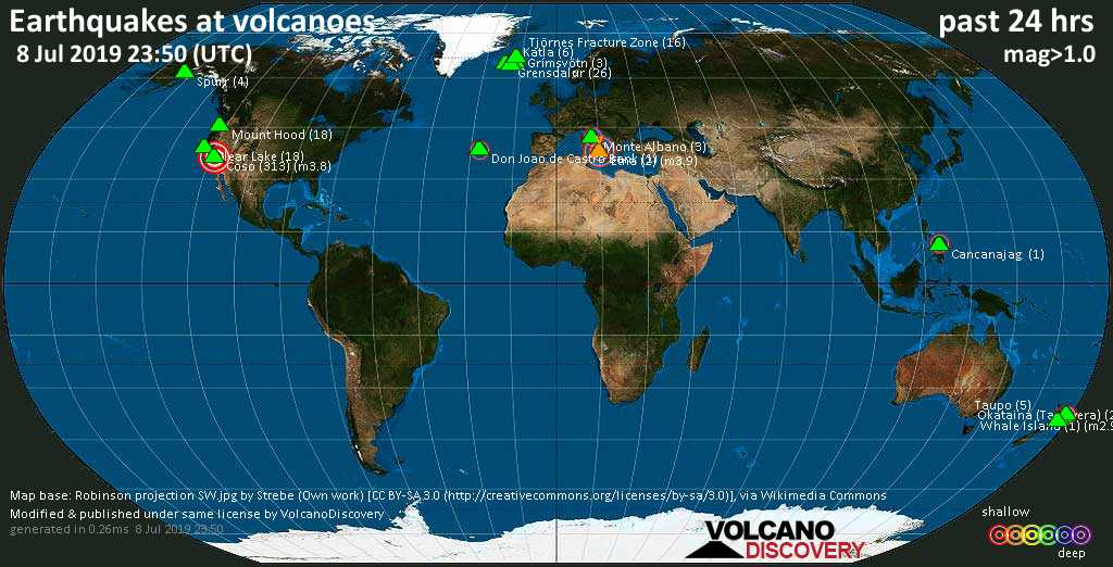 World map showing volcanoes with shallow (less than 20 km) earthquakes within 20 km radius  during the past 24 hours on  8 Jul 2019 Number in brackets indicate nr of quakes.
