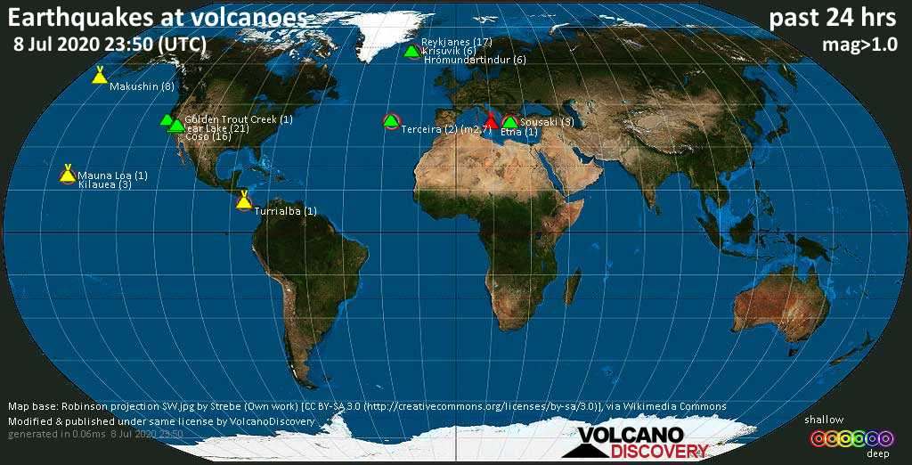 World map showing volcanoes with shallow (less than 20 km) earthquakes within 20 km radius  during the past 24 hours on  8 Jul 2020 Number in brackets indicate nr of quakes.
