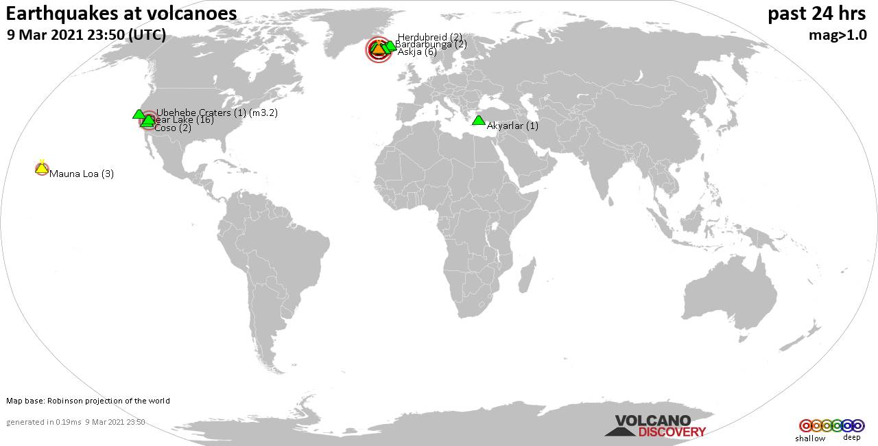 World map showing volcanoes with shallow (less than 20 km) earthquakes within 20 km radius  during the past 24 hours on  9 Mar 2021 Number in brackets indicate nr of quakes.