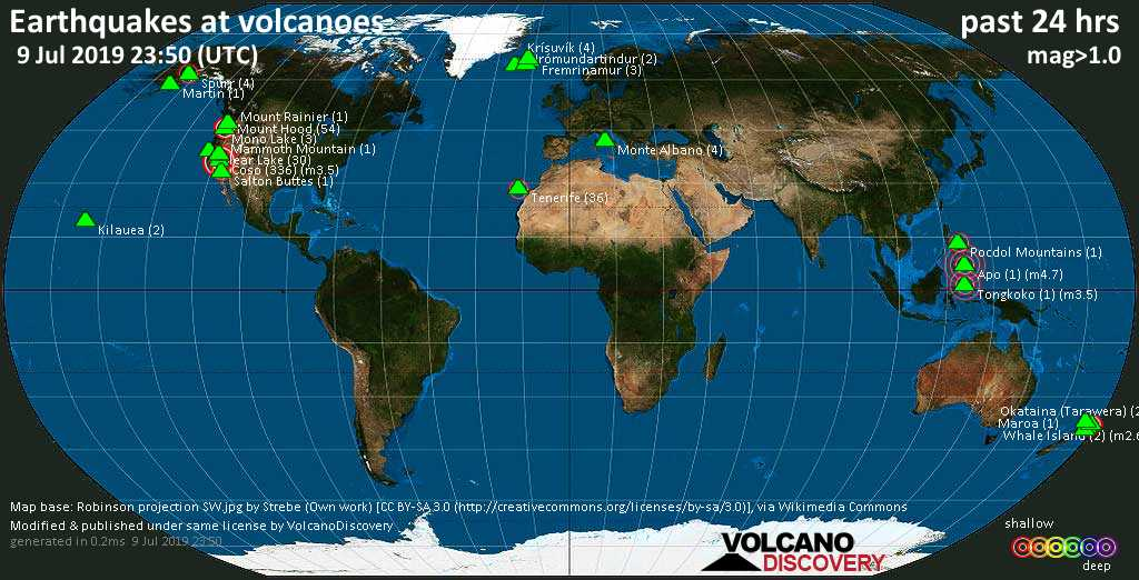 World map showing volcanoes with shallow (less than 20 km) earthquakes within 20 km radius  during the past 24 hours on  9 Jul 2019 Number in brackets indicate nr of quakes.