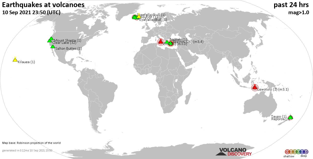 World map showing volcanoes with shallow (less than 20 km) earthquakes within 20 km radius  during the past 24 hours on 10 Sep 2021 Number in brackets indicate nr of quakes.