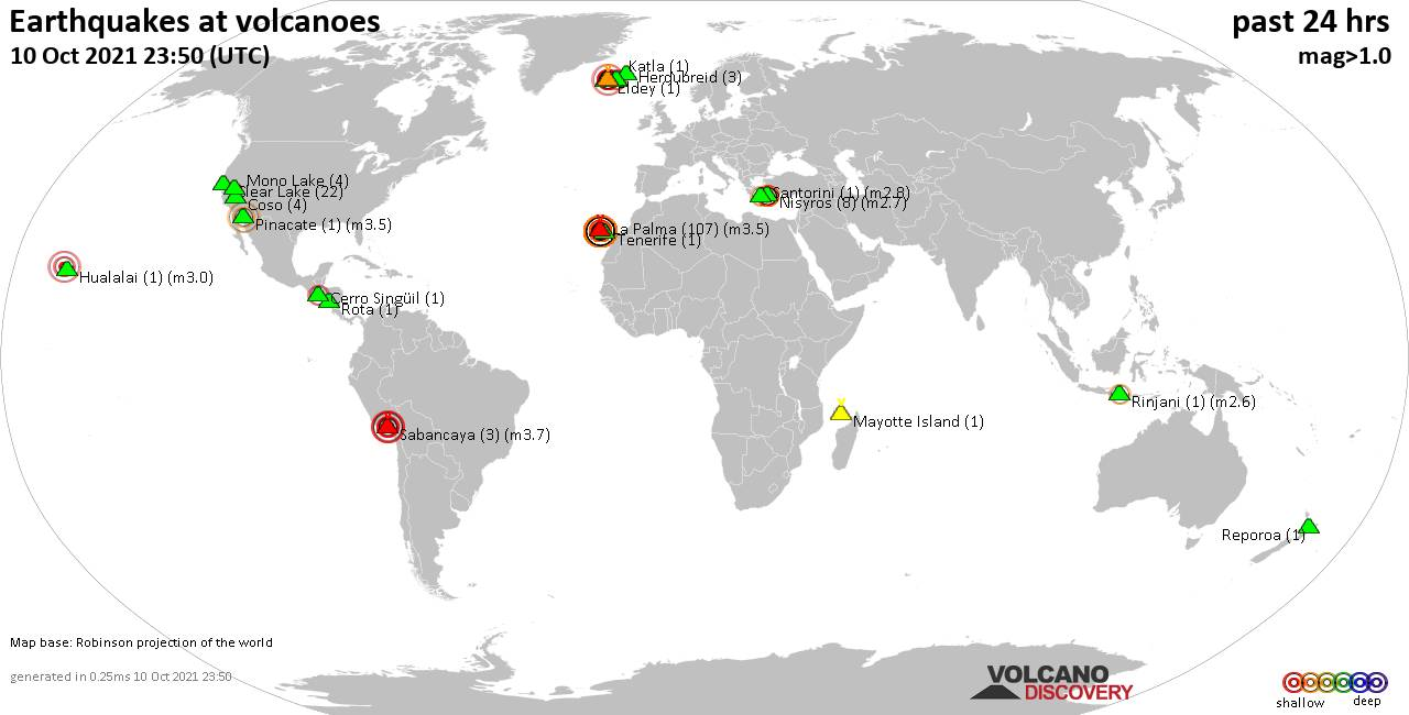 World map showing volcanoes with shallow (less than 20 km) earthquakes within 20 km radius  during the past 24 hours on 10 Oct 2021 Number in brackets indicate nr of quakes.