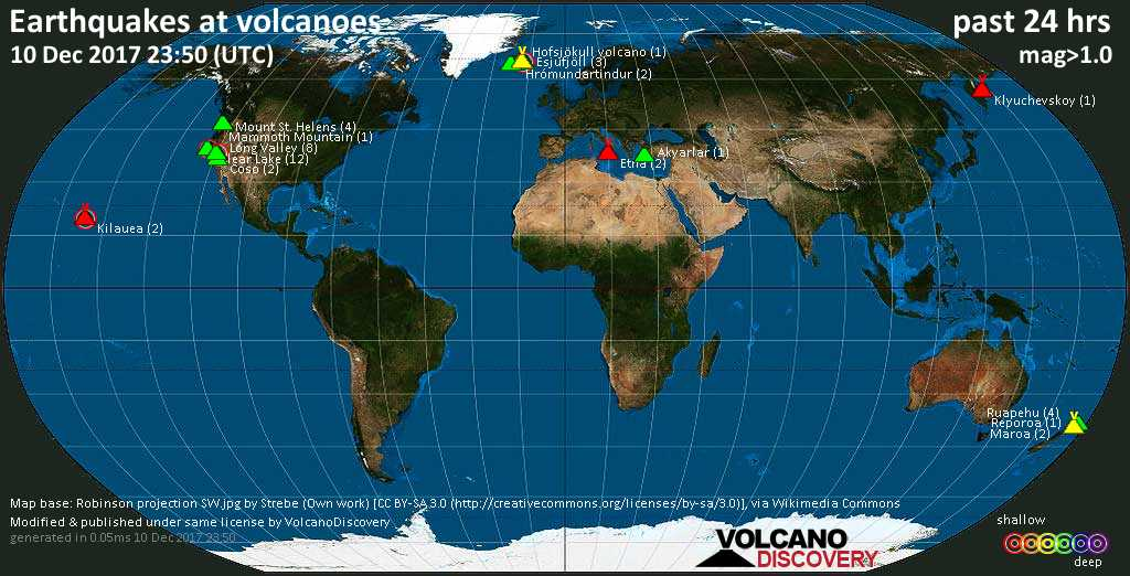 World map showing volcanoes with shallow (less than 20 km) earthquakes within 20 km radius  during the past 24 hours on 10 Dec 2017 Number in brackets indicate nr of quakes.