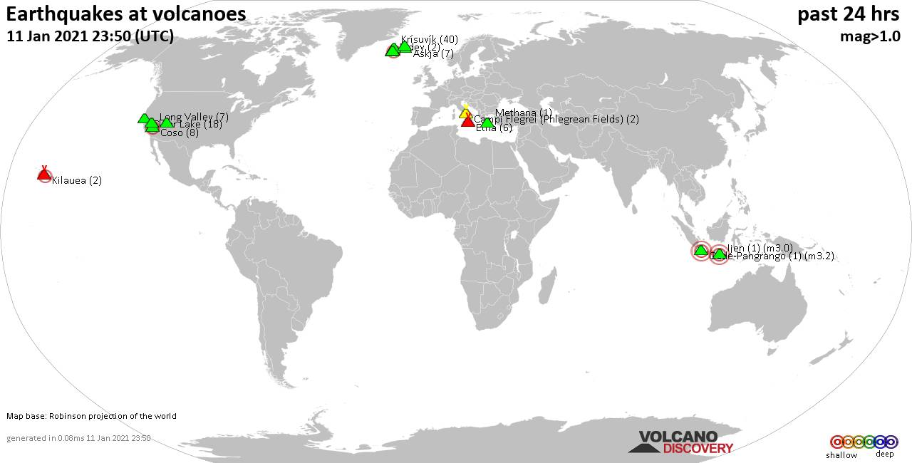 World map showing volcanoes with shallow (less than 20 km) earthquakes within 20 km radius  during the past 24 hours on 11 Jan 2021 Number in brackets indicate nr of quakes.