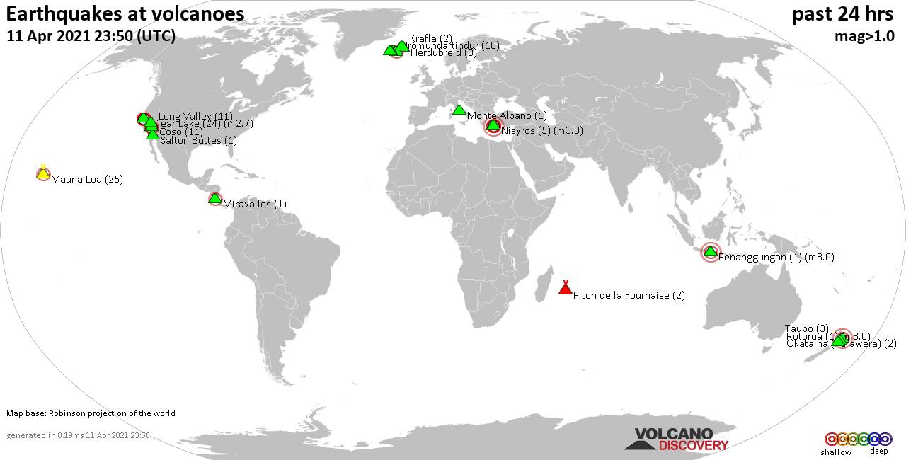World map showing volcanoes with shallow (less than 20 km) earthquakes within 20 km radius  during the past 24 hours on 11 Apr 2021 Number in brackets indicate nr of quakes.