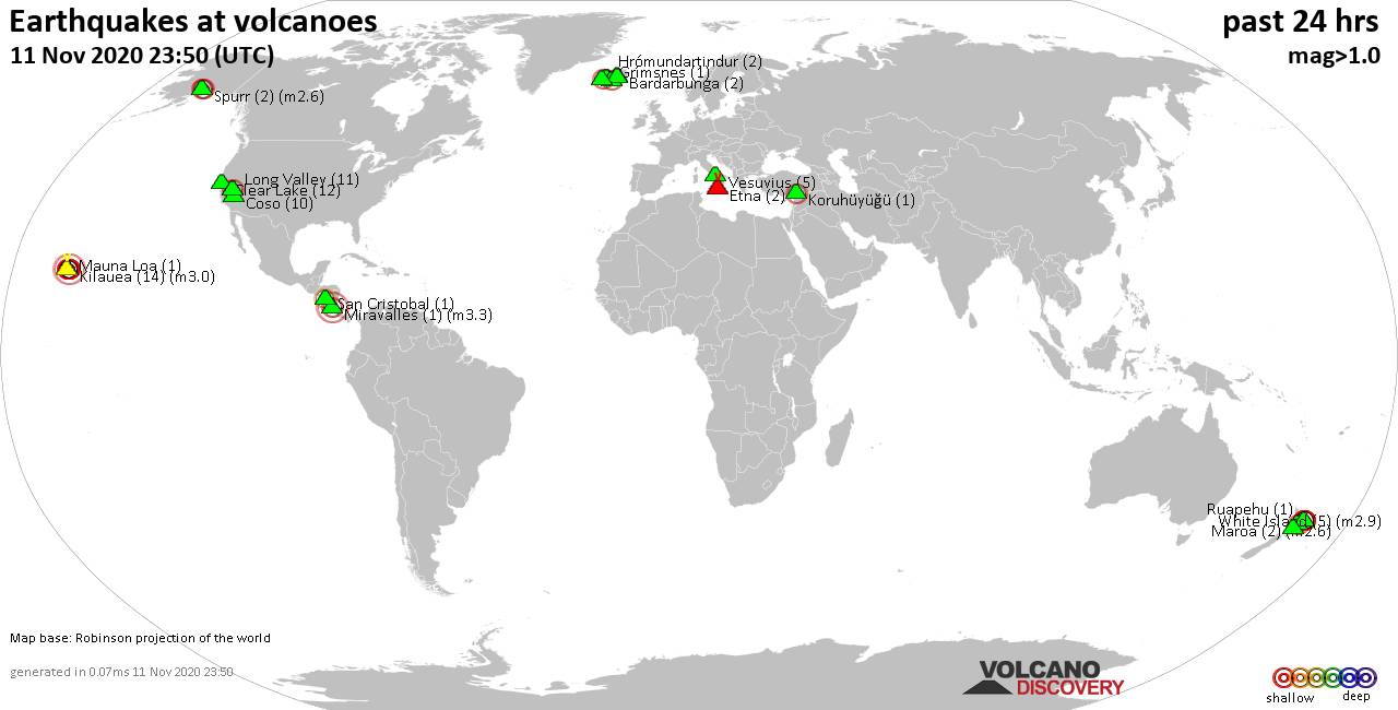 World map showing volcanoes with shallow (less than 20 km) earthquakes within 20 km radius  during the past 24 hours on 11 Nov 2020 Number in brackets indicate nr of quakes.