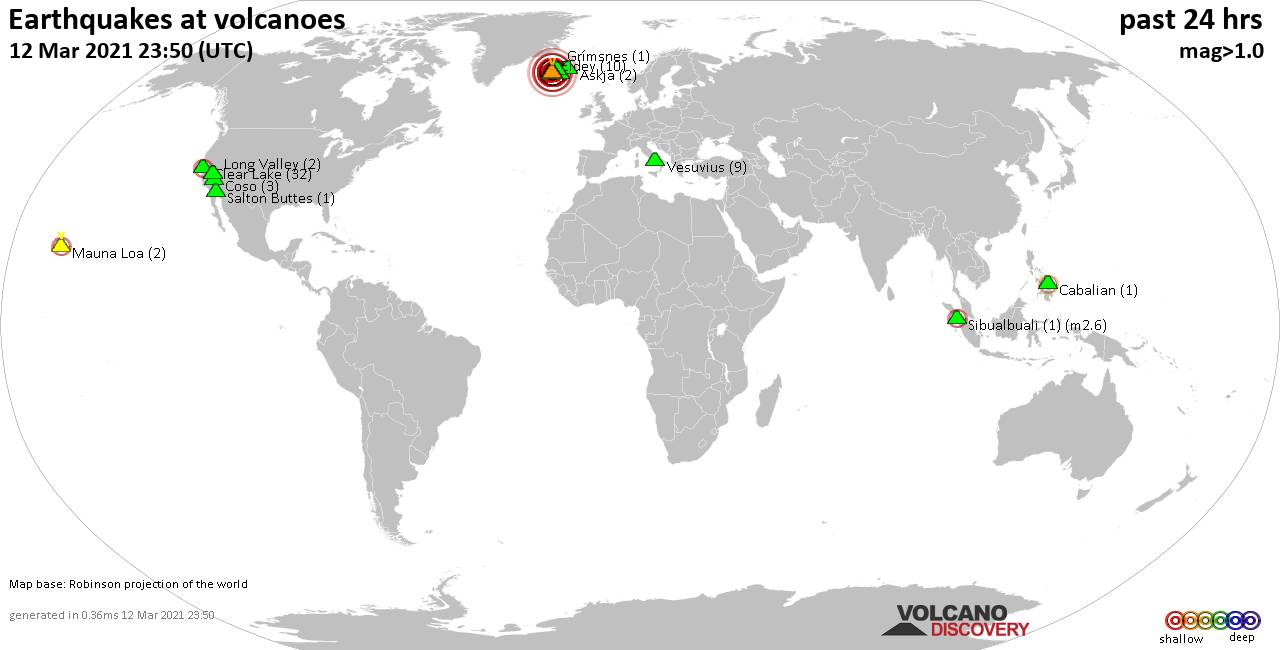 World map showing volcanoes with shallow (less than 20 km) earthquakes within 20 km radius  during the past 24 hours on 12 Mar 2021 Number in brackets indicate nr of quakes.