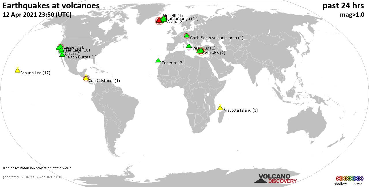 World map showing volcanoes with shallow (less than 20 km) earthquakes within 20 km radius  during the past 24 hours on 12 Apr 2021 Number in brackets indicate nr of quakes.