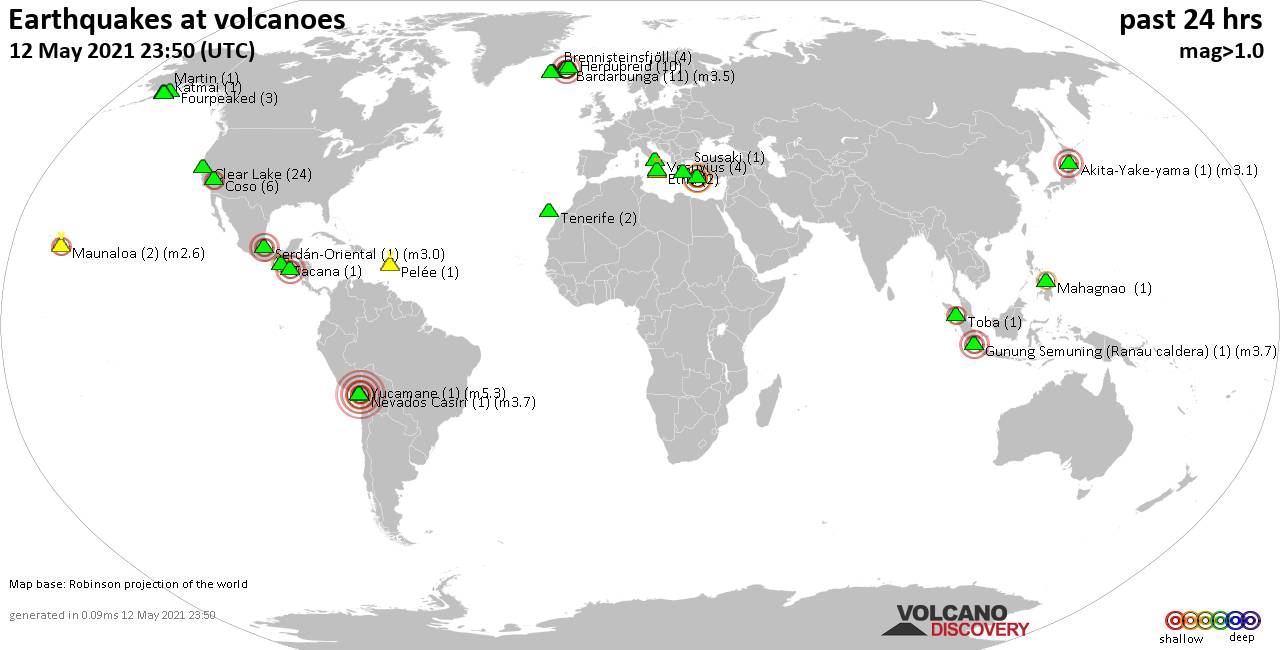 World map showing volcanoes with shallow (less than 20 km) earthquakes within 20 km radius  during the past 24 hours on 12 May 2021 Number in brackets indicate nr of quakes.