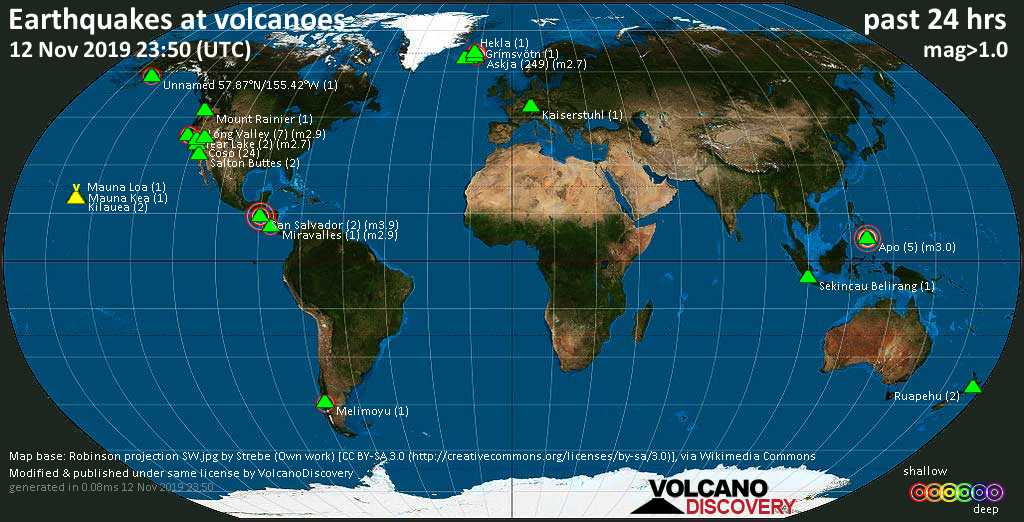 World map showing volcanoes with shallow (less than 20 km) earthquakes within 20 km radius  during the past 24 hours on 12 Nov 2019 Number in brackets indicate nr of quakes.