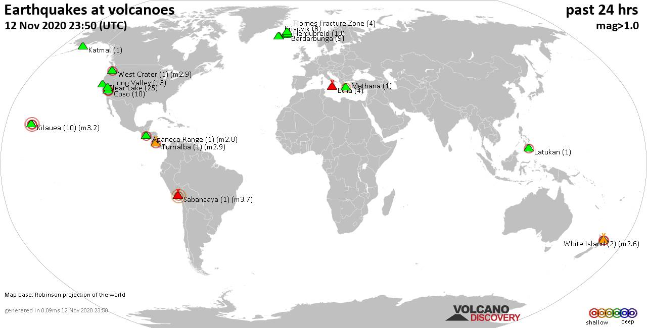 World map showing volcanoes with shallow (less than 20 km) earthquakes within 20 km radius  during the past 24 hours on 12 Nov 2020 Number in brackets indicate nr of quakes.