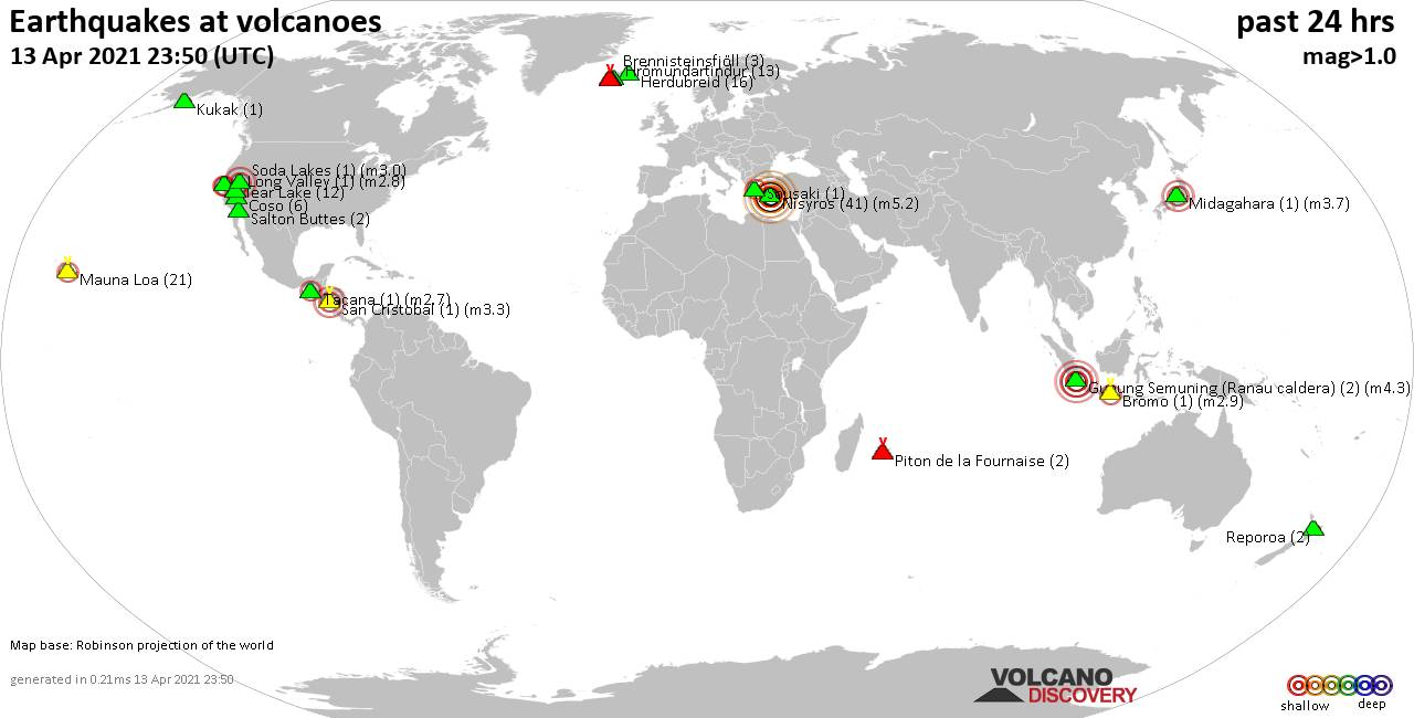World map showing volcanoes with shallow (less than 20 km) earthquakes within 20 km radius  during the past 24 hours on 13 Apr 2021 Number in brackets indicate nr of quakes.