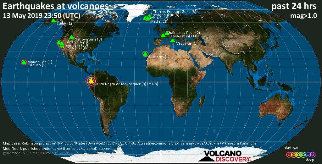 World map showing volcanoes with shallow (less than 20 km) earthquakes within 20 km radius  during the past 24 hours on 13 May 2019 Number in brackets indicate nr of quakes.