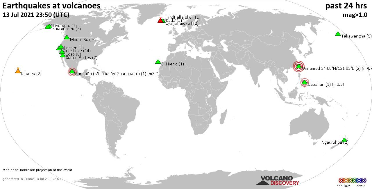 World map showing volcanoes with shallow (less than 20 km) earthquakes within 20 km radius  during the past 24 hours on 13 Jul 2021 Number in brackets indicate nr of quakes.