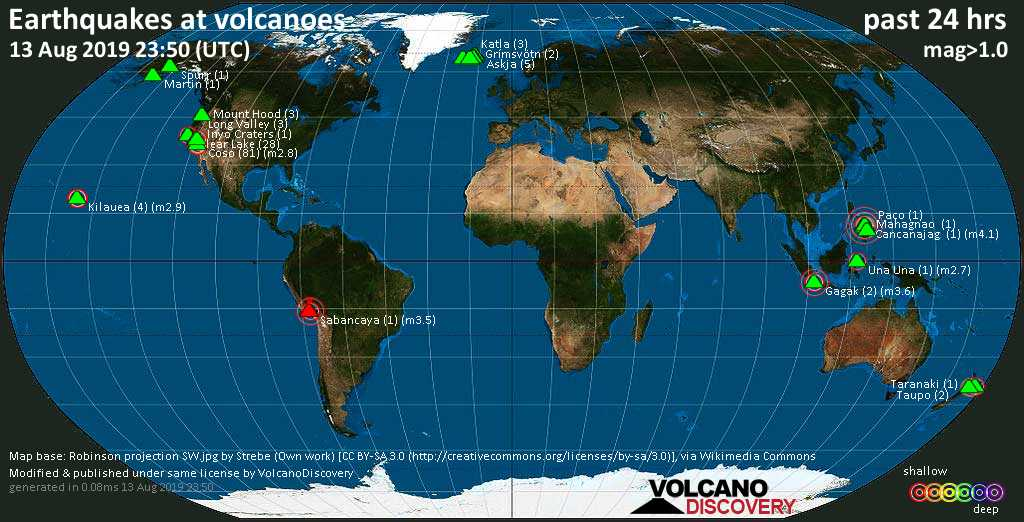 World map showing volcanoes with shallow (less than 20 km) earthquakes within 20 km radius  during the past 24 hours on 13 Aug 2019 Number in brackets indicate nr of quakes.
