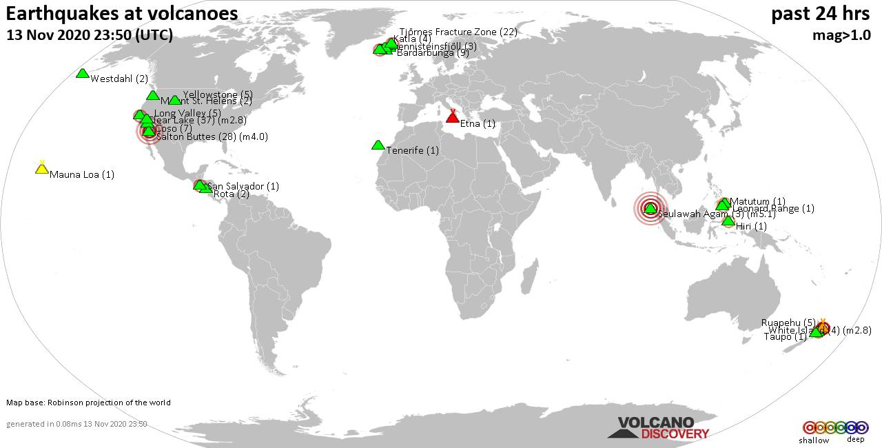 World map showing volcanoes with shallow (less than 20 km) earthquakes within 20 km radius  during the past 24 hours on 13 Nov 2020 Number in brackets indicate nr of quakes.