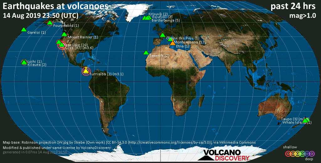 World map showing volcanoes with shallow (less than 20 km) earthquakes within 20 km radius  during the past 24 hours on 14 Aug 2019 Number in brackets indicate nr of quakes.