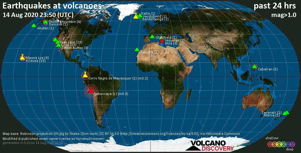 World map showing volcanoes with shallow (less than 20 km) earthquakes within 20 km radius  during the past 24 hours on 14 Aug 2020 Number in brackets indicate nr of quakes.