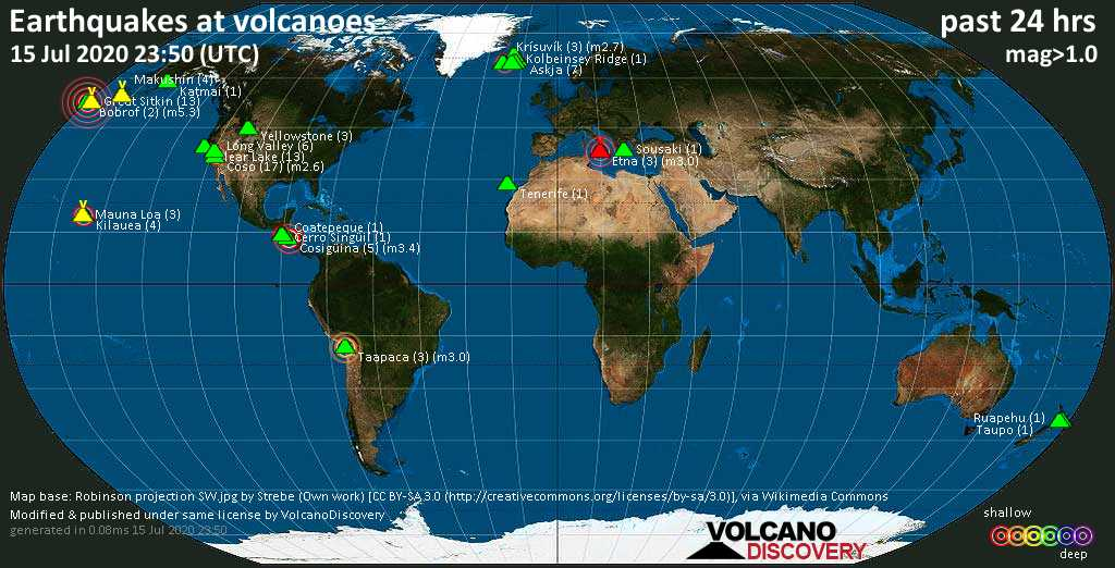 World map showing volcanoes with shallow (less than 20 km) earthquakes within 20 km radius  during the past 24 hours on 15 Jul 2020 Number in brackets indicate nr of quakes.