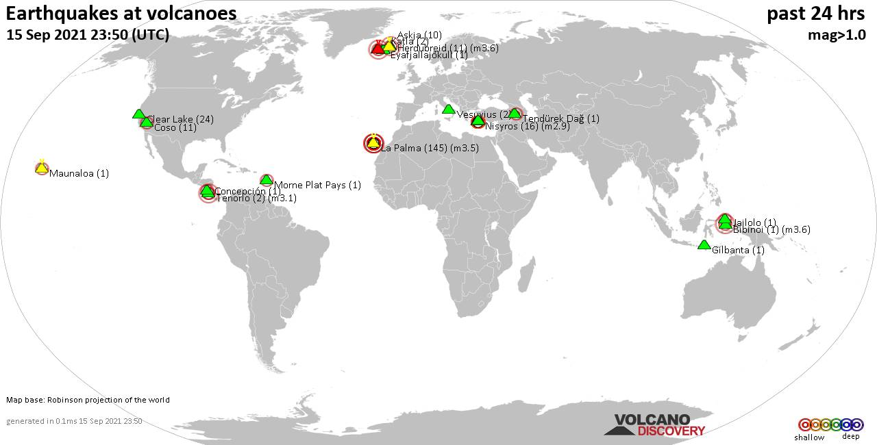 World map showing volcanoes with shallow (less than 20 km) earthquakes within 20 km radius  during the past 24 hours on 15 Sep 2021 Number in brackets indicate nr of quakes.