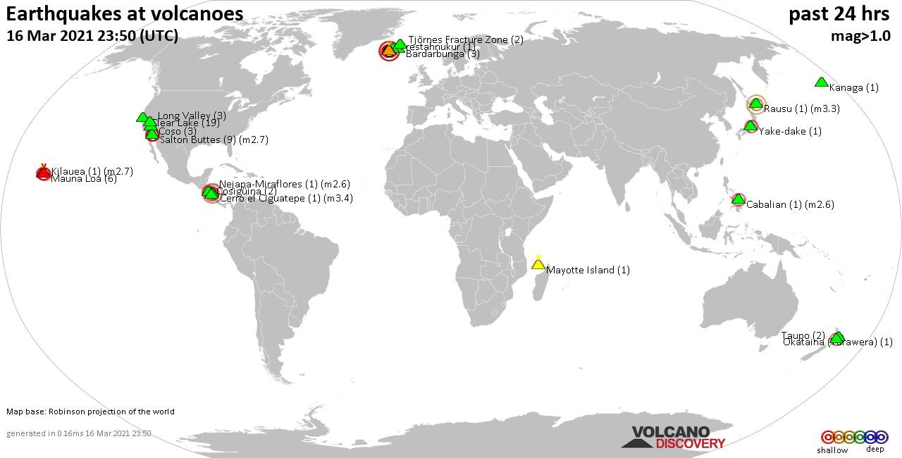 World map showing volcanoes with shallow (less than 20 km) earthquakes within 20 km radius  during the past 24 hours on 16 Mar 2021 Number in brackets indicate nr of quakes.