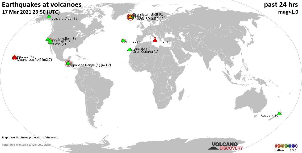 World map showing volcanoes with shallow (less than 20 km) earthquakes within 20 km radius  during the past 24 hours on 17 Mar 2021 Number in brackets indicate nr of quakes.