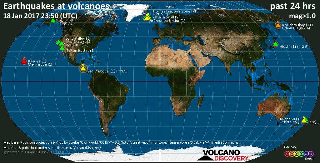 World map showing volcanoes with shallow (less than 20 km) earthquakes within 20 km radius  during the past 24 hours on 18 Jan 2017 Number in brackets indicate nr of quakes.