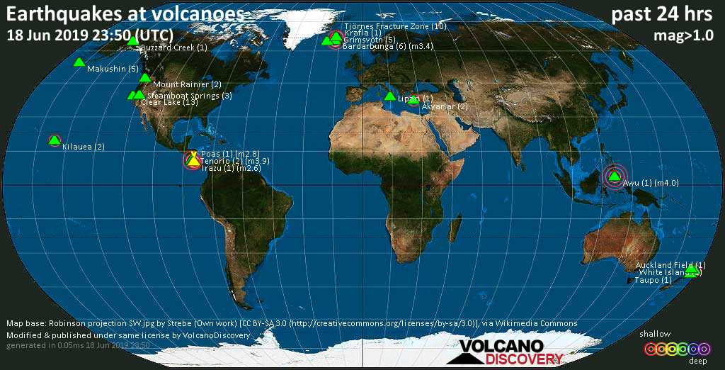 World map showing volcanoes with shallow (less than 20 km) earthquakes within 20 km radius  during the past 24 hours on 18 Jun 2019 Number in brackets indicate nr of quakes.