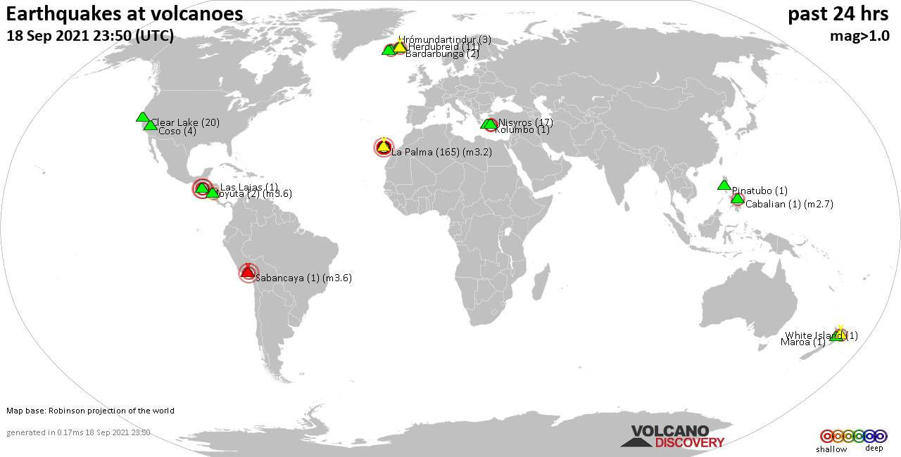 World map showing volcanoes with shallow (less than 20 km) earthquakes within 20 km radius  during the past 24 hours on 18 Sep 2021 Number in brackets indicate nr of quakes.