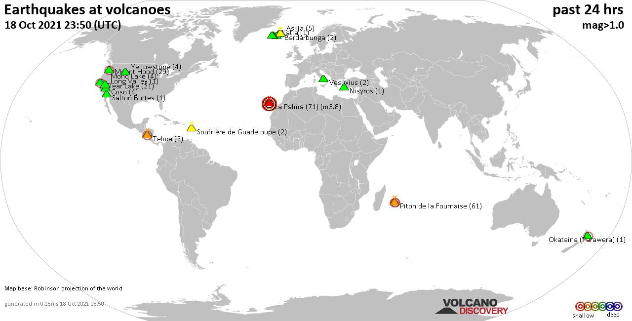 World map showing volcanoes with shallow (less than 20 km) earthquakes within 20 km radius  during the past 24 hours on 18 Oct 2021 Number in brackets indicate nr of quakes.