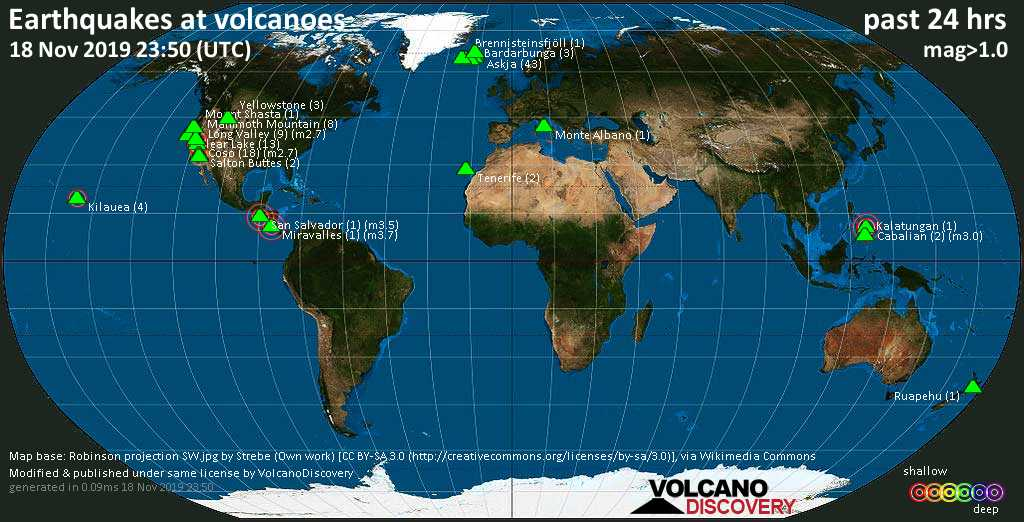 World map showing volcanoes with shallow (less than 20 km) earthquakes within 20 km radius  during the past 24 hours on 18 Nov 2019 Number in brackets indicate nr of quakes.