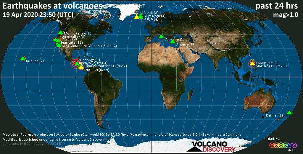 World map showing volcanoes with shallow (less than 20 km) earthquakes within 20 km radius  during the past 24 hours on 19 Apr 2020 Number in brackets indicate nr of quakes.