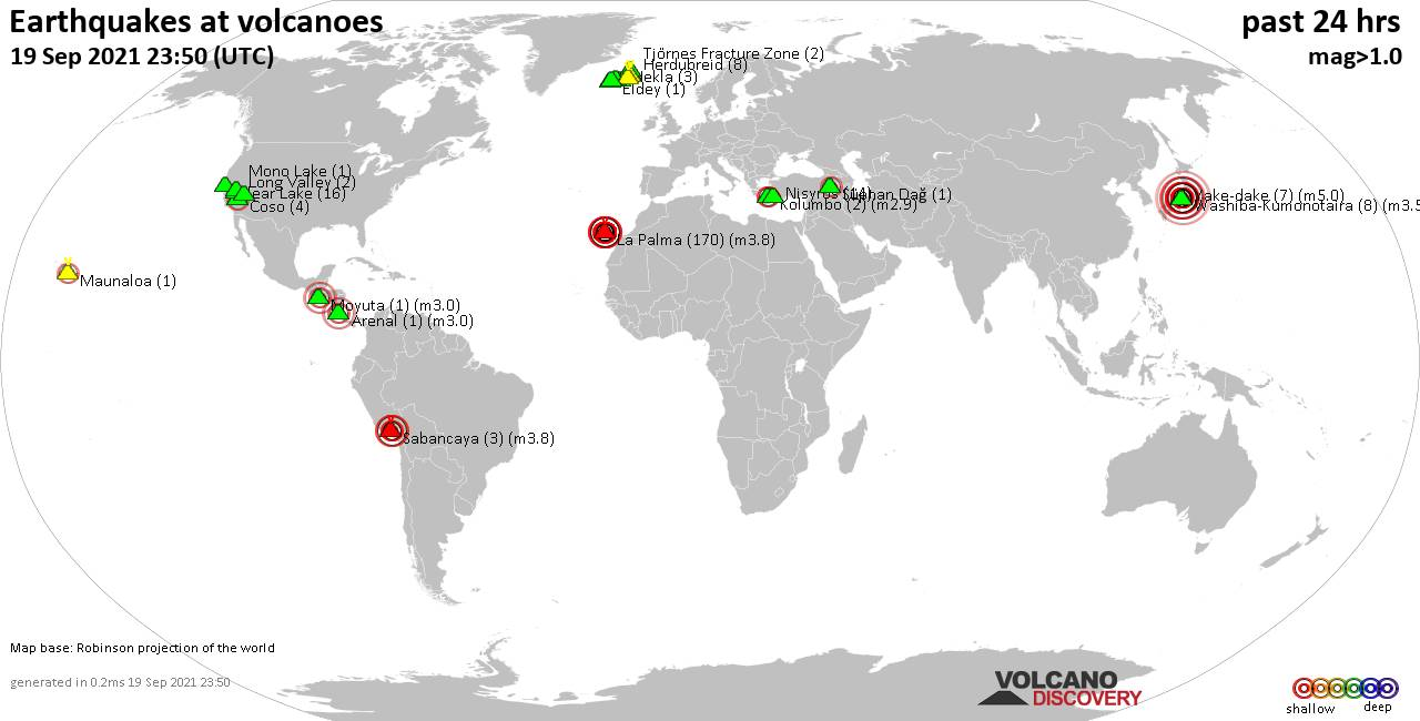 World map showing volcanoes with shallow (less than 20 km) earthquakes within 20 km radius  during the past 24 hours on 19 Sep 2021 Number in brackets indicate nr of quakes.