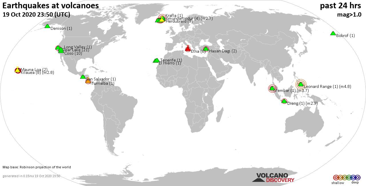 World map showing volcanoes with shallow (less than 20 km) earthquakes within 20 km radius  during the past 24 hours on 19 Oct 2020 Number in brackets indicate nr of quakes.