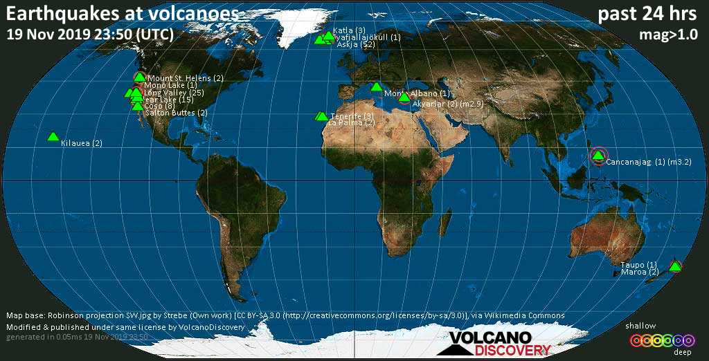 World map showing volcanoes with shallow (less than 20 km) earthquakes within 20 km radius  during the past 24 hours on 19 Nov 2019 Number in brackets indicate nr of quakes.