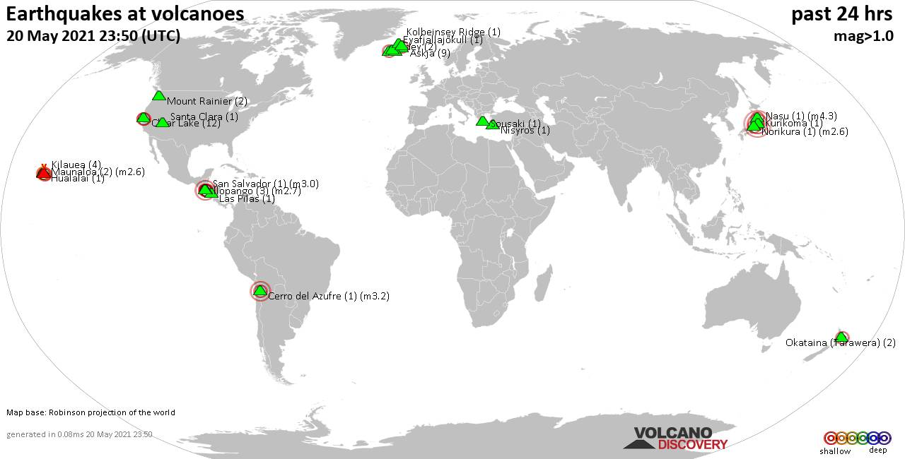 World map showing volcanoes with shallow (less than 20 km) earthquakes within 20 km radius  during the past 24 hours on 20 May 2021 Number in brackets indicate nr of quakes.