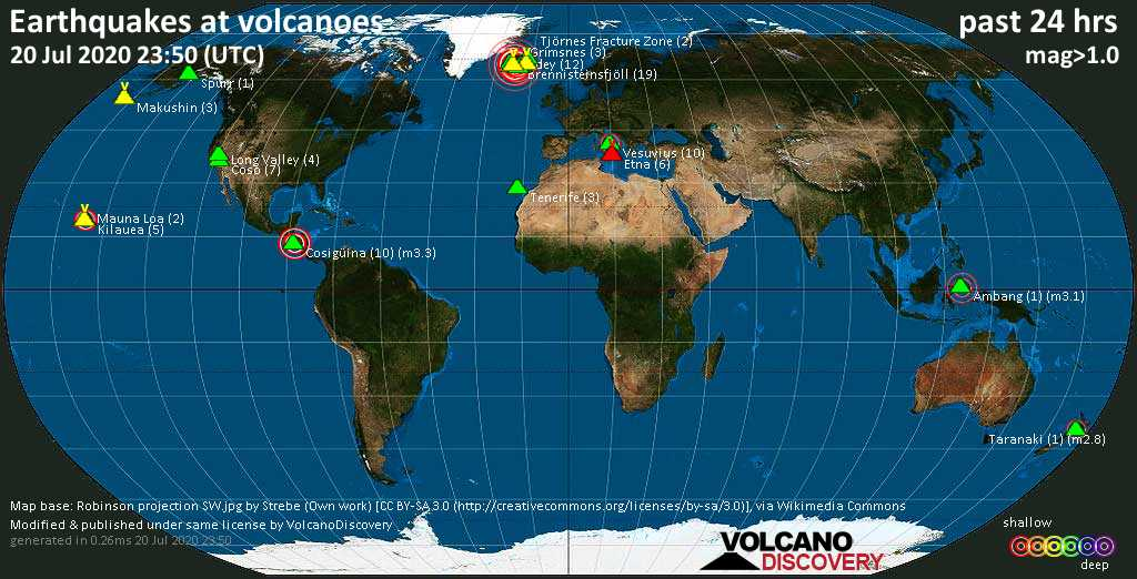 World map showing volcanoes with shallow (less than 20 km) earthquakes within 20 km radius  during the past 24 hours on 20 Jul 2020 Number in brackets indicate nr of quakes.