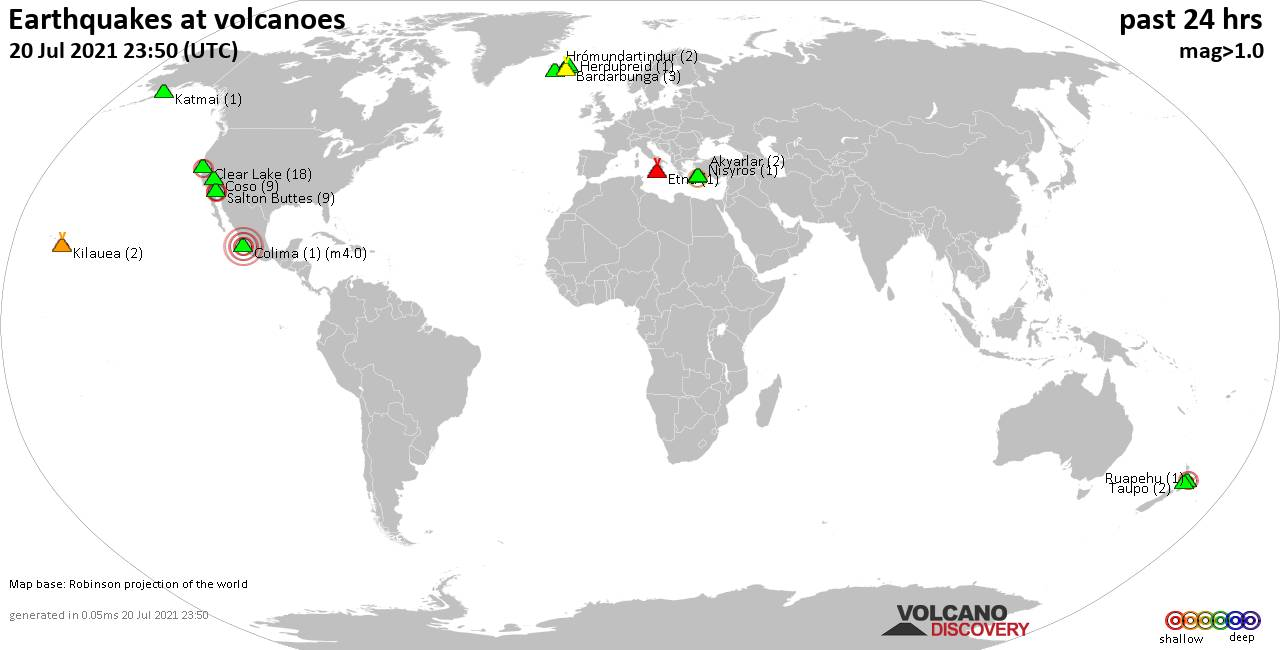 World map showing volcanoes with shallow (less than 20 km) earthquakes within 20 km radius  during the past 24 hours on 20 Jul 2021 Number in brackets indicate nr of quakes.