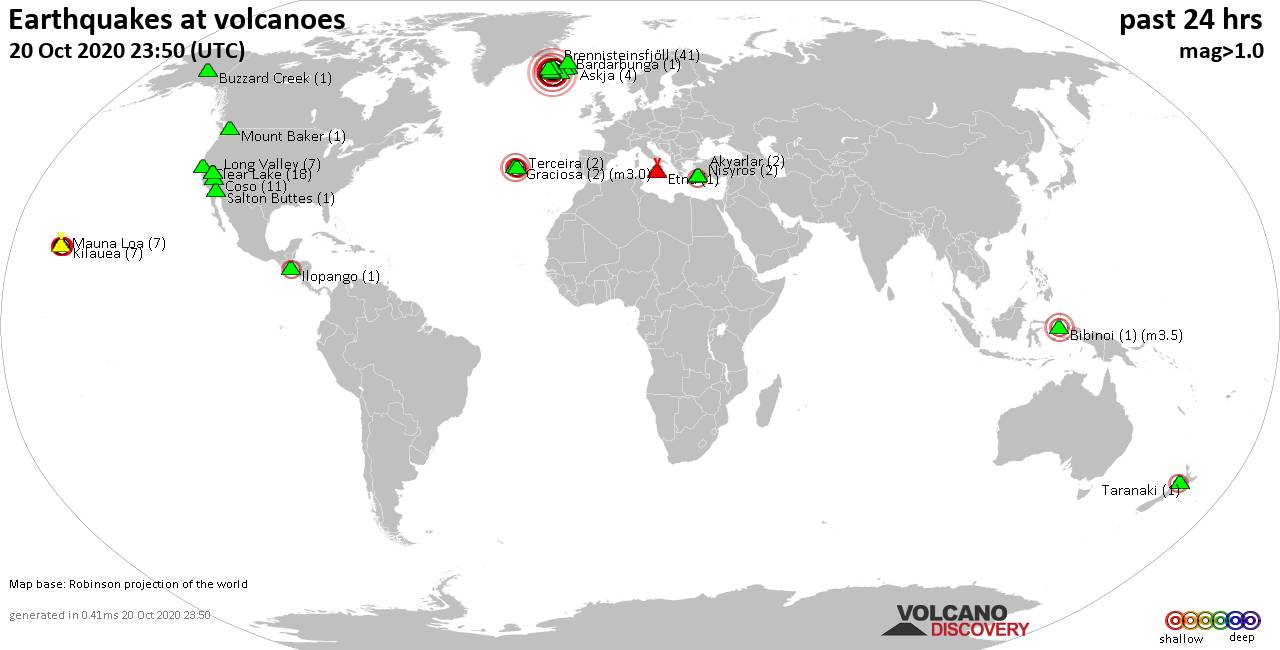 World map showing volcanoes with shallow (less than 20 km) earthquakes within 20 km radius  during the past 24 hours on 20 Oct 2020 Number in brackets indicate nr of quakes.