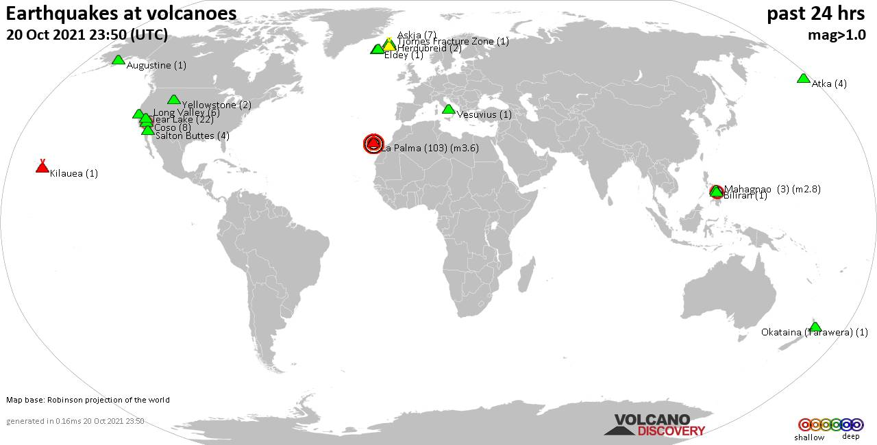 World map showing volcanoes with shallow (less than 20 km) earthquakes within 20 km radius  during the past 24 hours on 20 Oct 2021 Number in brackets indicate nr of quakes.