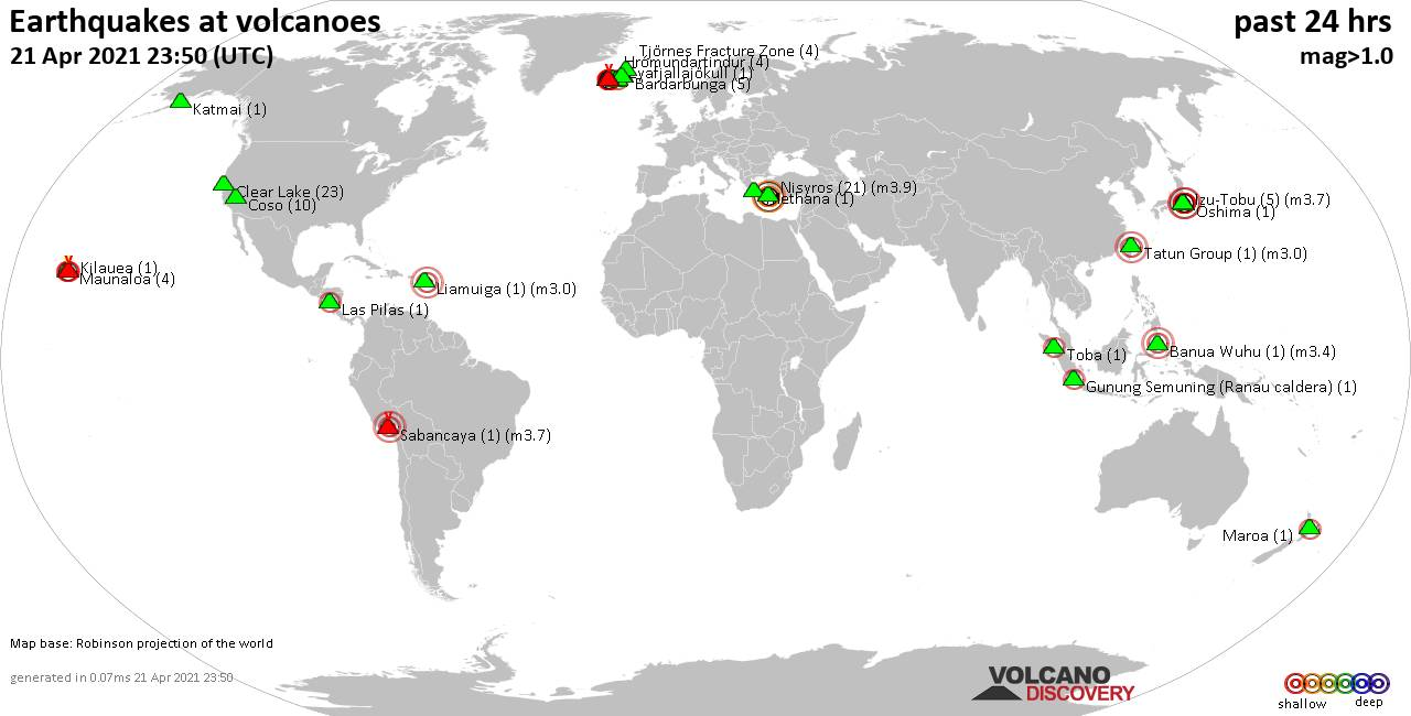 World map showing volcanoes with shallow (less than 20 km) earthquakes within 20 km radius  during the past 24 hours on 21 Apr 2021 Number in brackets indicate nr of quakes.