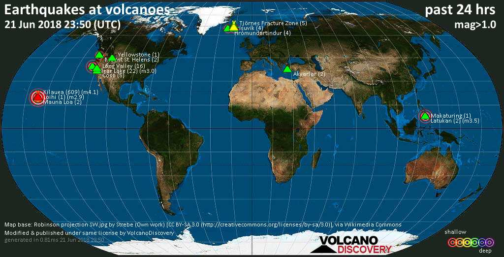 World map showing volcanoes with shallow (less than 20 km) earthquakes within 20 km radius  during the past 24 hours on 21 Jun 2018 Number in brackets indicate nr of quakes.