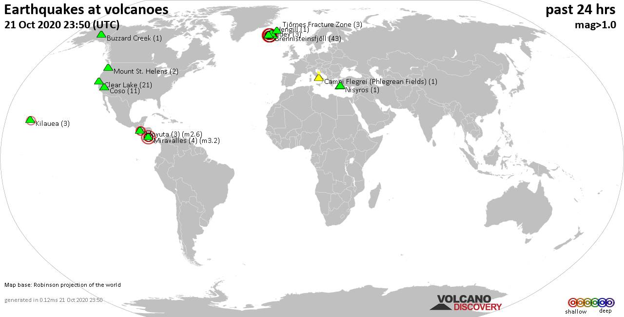 World map showing volcanoes with shallow (less than 20 km) earthquakes within 20 km radius  during the past 24 hours on 21 Oct 2020 Number in brackets indicate nr of quakes.