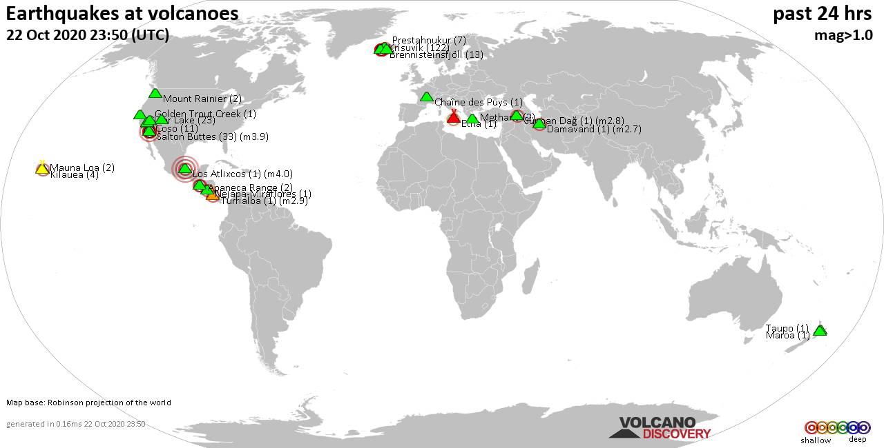World map showing volcanoes with shallow (less than 20 km) earthquakes within 20 km radius  during the past 24 hours on 22 Oct 2020 Number in brackets indicate nr of quakes.