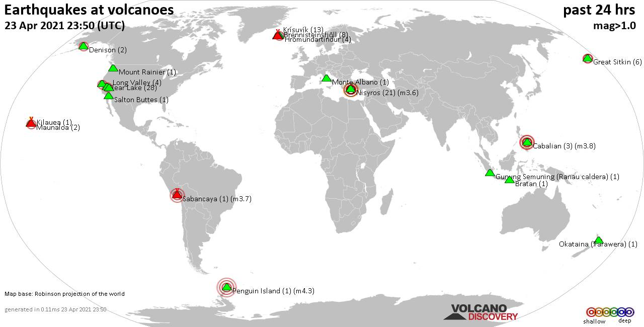 World map showing volcanoes with shallow (less than 20 km) earthquakes within 20 km radius  during the past 24 hours on 23 Apr 2021 Number in brackets indicate nr of quakes.