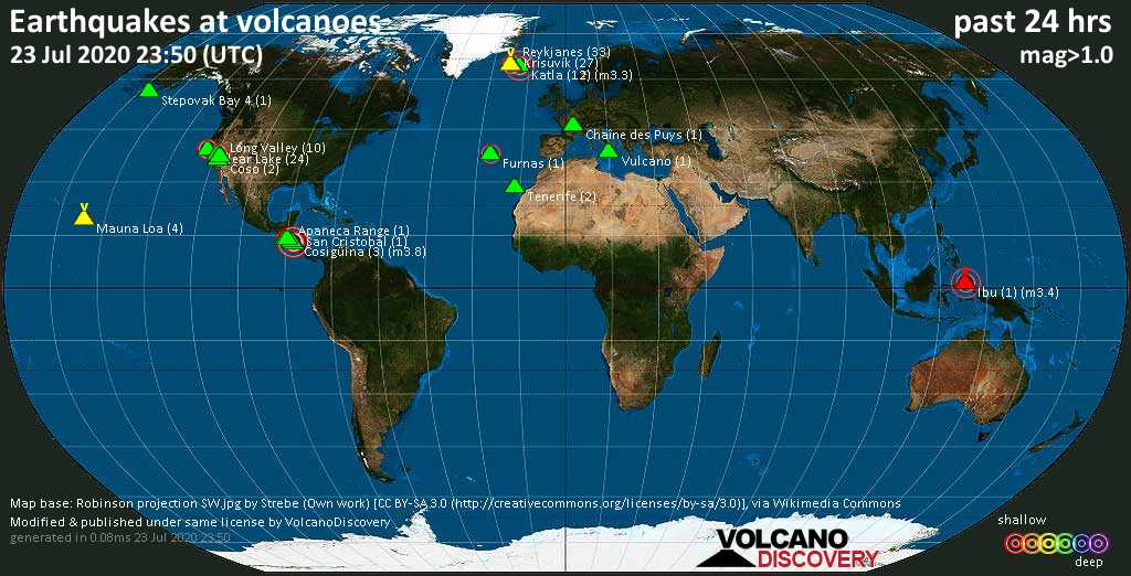 World map showing volcanoes with shallow (less than 20 km) earthquakes within 20 km radius  during the past 24 hours on 23 Jul 2020 Number in brackets indicate nr of quakes.