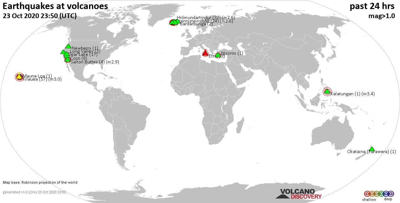 World map showing volcanoes with shallow (less than 20 km) earthquakes within 20 km radius  during the past 24 hours on 23 Oct 2020 Number in brackets indicate nr of quakes.