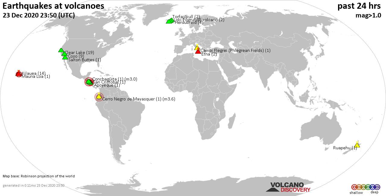 World map showing volcanoes with shallow (less than 20 km) earthquakes within 20 km radius  during the past 24 hours on 23 Dec 2020 Number in brackets indicate nr of quakes.