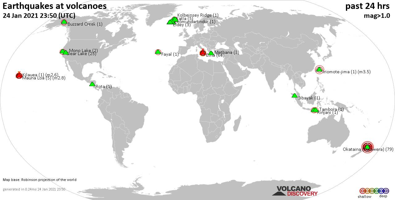World map showing volcanoes with shallow (less than 20 km) earthquakes within 20 km radius  during the past 24 hours on 24 Jan 2021 Number in brackets indicate nr of quakes.